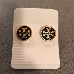 Tory Burch Black Logo Earrings